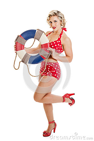 Free Beautiful Retro Pinup Girl With Life Preserver Stock Photos - 61939963
