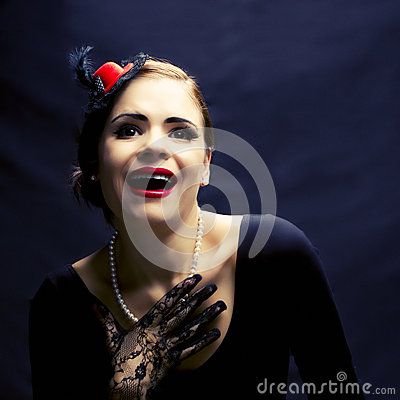 Beautiful retro woman laughing