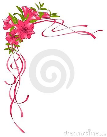 Beautiful ribbons with pink Lilies