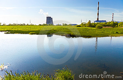 Beautiful river bank and power plant