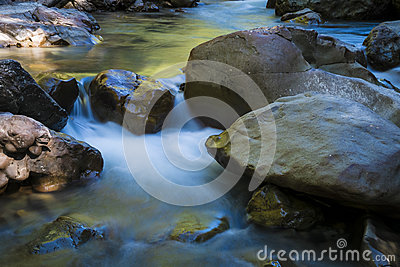 Beautiful river flowing among rocks