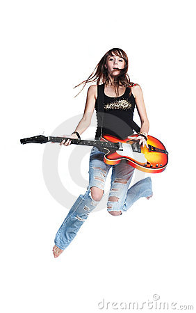 Free Beautiful Rock-n-roll Girl Jump With Guitar Royalty Free Stock Photo - 9029115