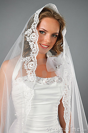 Beautiful romantic bride under veil