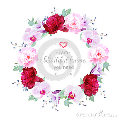 Free Beautiful Romantic Floral Vector Design Round Frame Stock Image - 95334721