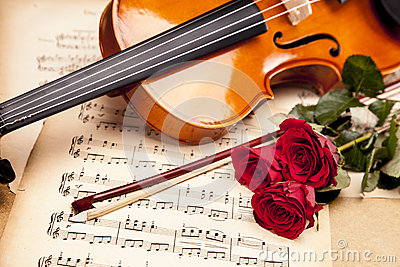 Beautiful roses and violin!
