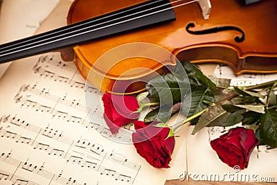 Beautiful roses and violin!