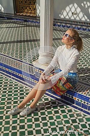 Free Beautiful Russian Girl Visit Bahia Palace In Marrakesh. Stock Photo - 108745010