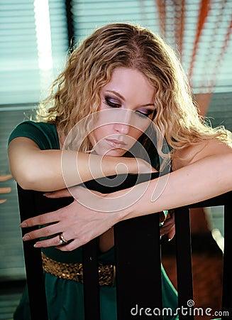 Beautiful Sad Blond Woman