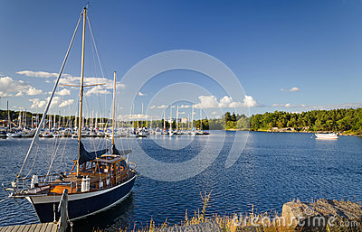 Beautiful sailboat in Swedish sea bay