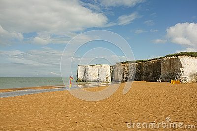Beautiful Sandy Beach with White Cliffs in Kent