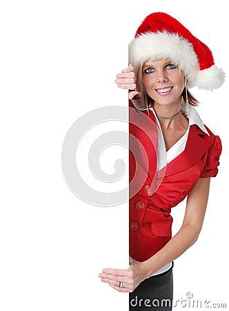 Beautiful Santa girl holding b