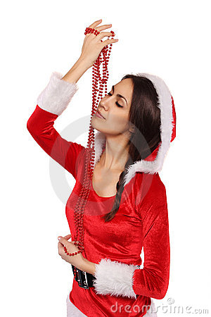 Beautiful Santa girl with pearl necklace