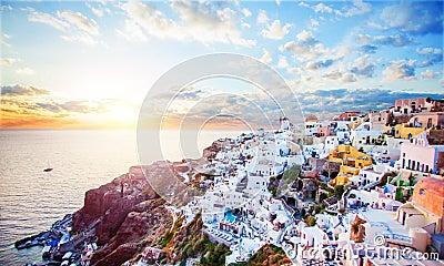 Beautiful Santorini island landscape with sea, sky and clouds. Oia town, Greece landmark Stock Photo