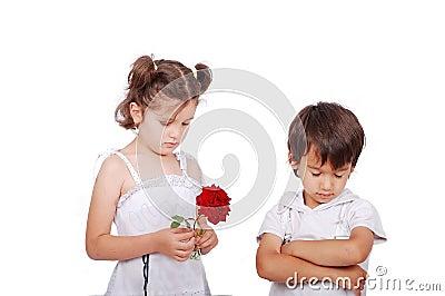 Beautiful scene of angry boy and girl
