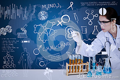 Beautiful scientist drawing on blue background