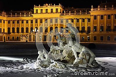 Beautiful sculpture of Schonbrunn Palace at winter