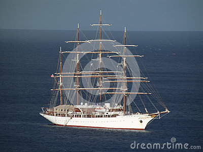 Beautiful sea cloud with sails furled.
