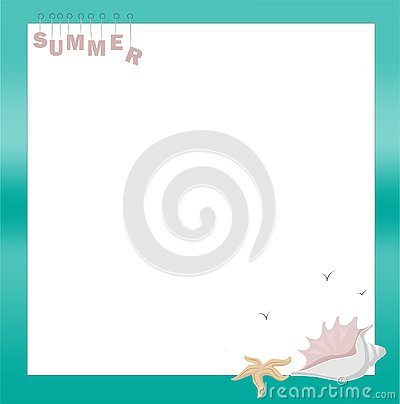 Beautiful sea frame with shells. Vector illustration Vector Illustration