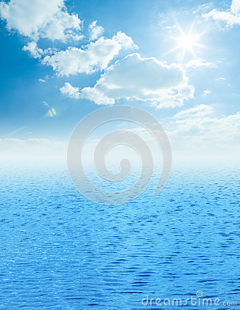 Beautiful sea horizon with clouds above it