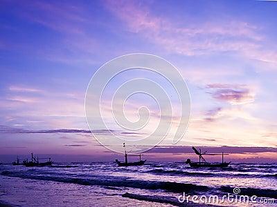 Beautiful sea sunrise and ship.