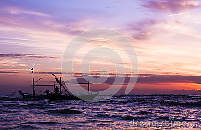 Beautiful sea sunrise and ship.