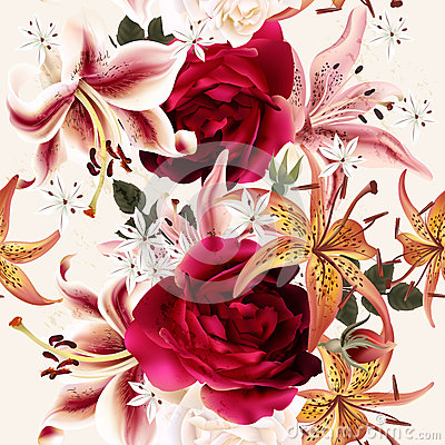 Free Beautiful Seamless Floral Pattern With Roses In Watercolor Style Royalty Free Stock Photography - 58742747