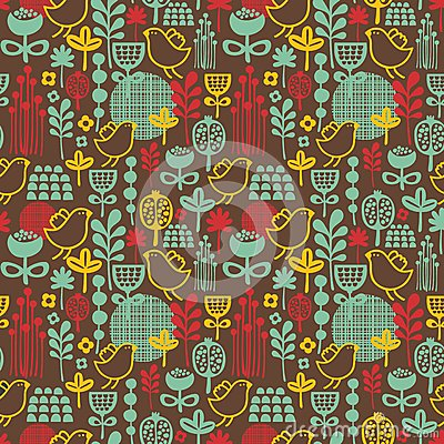 Beautiful seamless pattern with cute birds.