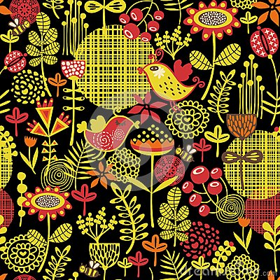 Beautiful seamless pattern of pretty flowers.