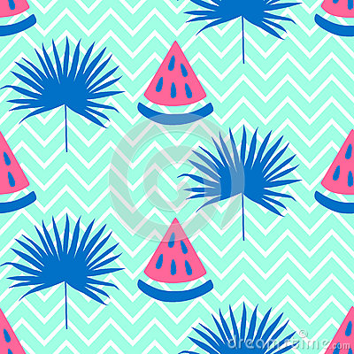 Beautiful seamless pattern with watermelon and bright blue tropical leaf Vector Illustration