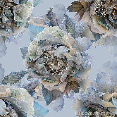 Free Beautiful Seamless Pattern With Flowers Of Silk Roses. Royalty Free Stock Image - 145236316