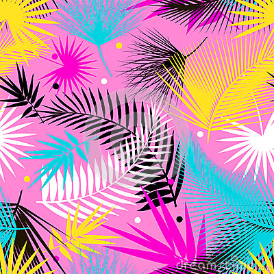 Free Beautiful Seamless Tropical Jungle Floral Pattern Background With Palm Leaves. Pop Art. Trendy Style. Bright Colors. Royalty Free Stock Photo - 95624245