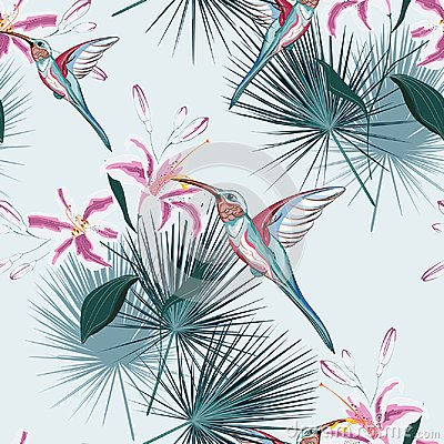 Free Beautiful Seamless Vector Floral Summer Pattern Background With Hummingbird, Tropical Pink Lilies Flowers And Palm Leaves. Stock Images - 123918604