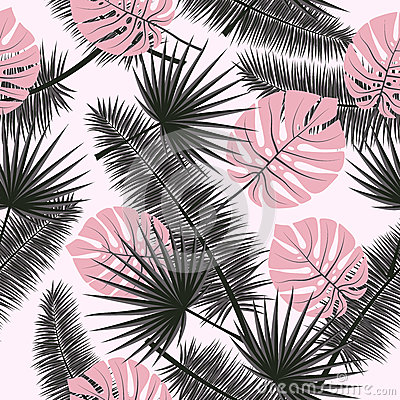 Free Beautiful Seamless Vector Floral Summer Pattern Background With Tropical Palm Leaves. Perfect For Wallpapers, Web Page Royalty Free Stock Image - 91615286