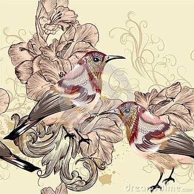 Free Beautiful Seamless Vector Wallpaper Pattern With Birds Stock Image - 37009111