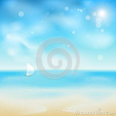 Beautiful seaside look in a sunny day with sand an