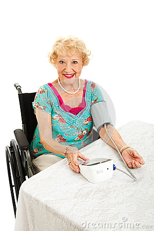 Beautiful Senior Takes Own Blood Pressure