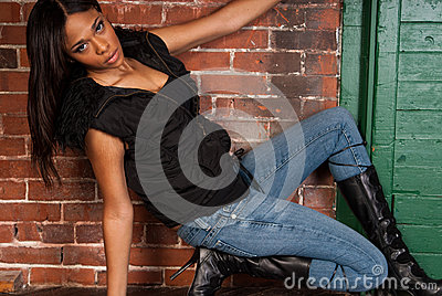 Beautiful Sexy African American Black Woman wearing casual black