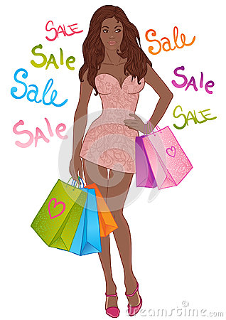 Beautiful sexy african american girl with shopping bags