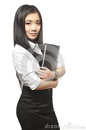 Beautiful sexy Asian businesswoman with documents