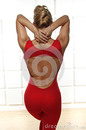 Free Beautiful Sexy Blonde Perfect Athletic Slim Figure Engaged In Yoga, Exercise Or Fitness, Lead A Healthy Lifestyle, And Eats R Royalty Free Stock Photography - 43030857