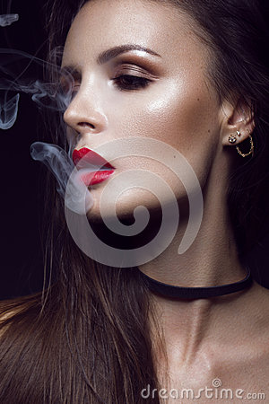 Free Beautiful Sexy Brunette Girl With Bright Makeup, Red Lips, Smoke From Mouth. Beauty Face. Royalty Free Stock Photography - 74913067