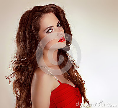 Free Beautiful Sexy Brunette Girl With Red Lips Stock Photography - 27339132