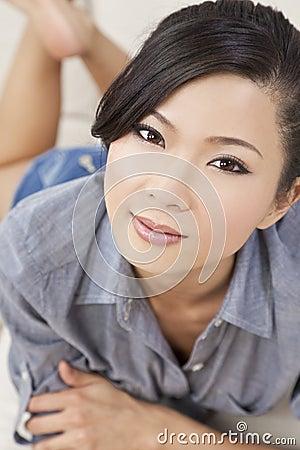 Beautiful Sexy Chinese Asian Woman Laying Down