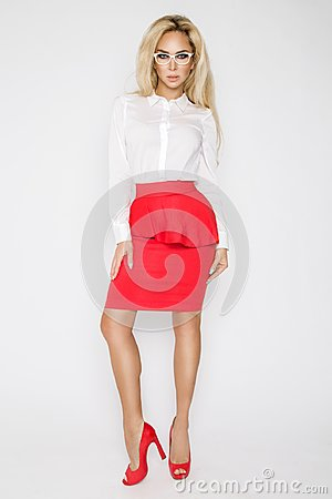 Free Beautiful, Sexy, Elegant Blonde Female Model In White Shirt Royalty Free Stock Photography - 104077057