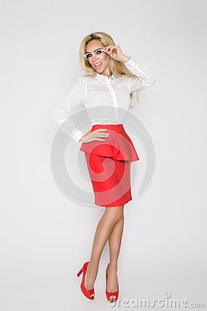 Free Beautiful, Sexy, Elegant Blonde Female Model In White Shirt Stock Image - 104077531