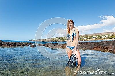 Beautiful Sexy Female Snorkeler