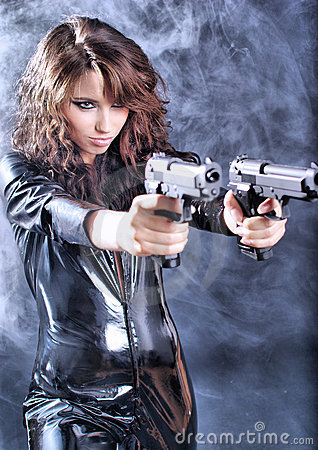 Beautiful Sexy Girl Holding Gun Royalty Free Stock
