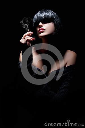 Beautiful Sexy Girl Portrait. Smoking
