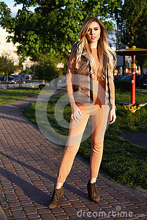 Free Beautiful Sexy Girl Walk In Park Garden Summer Autum Stock Photography - 73168462