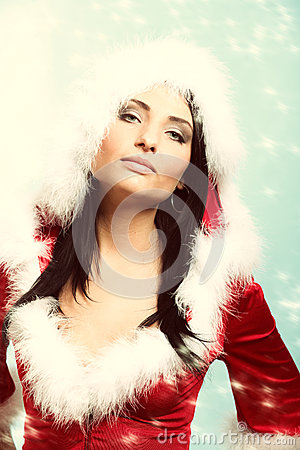 Free Beautiful Sexy Girl Wearing Santa Claus Clothes Winter Snow Background Stock Photo - 36370730